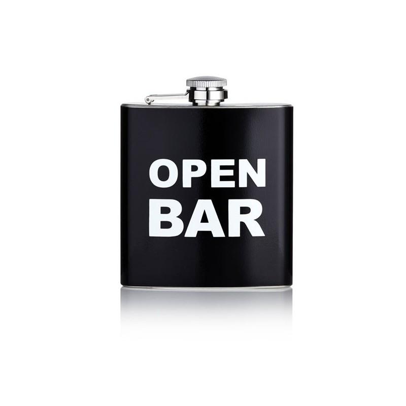 Flasque Inox Alcool 177ml Noir Open Bar