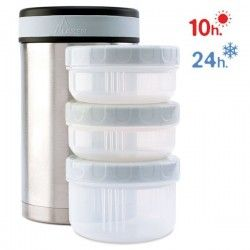 Lunch-box isotherme inox 1,5 l, 3 compartiments et housse
