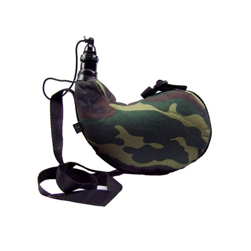 Gourde basque tissu camouflage et intérieur latex 1 litre