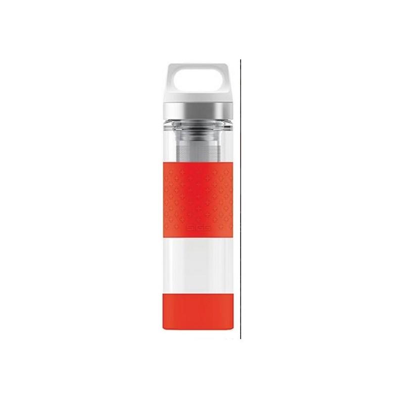Gourde en verre isotherme, protection silicone rouge, 2 filtres à thé intégrés, 400ml, SIGG
