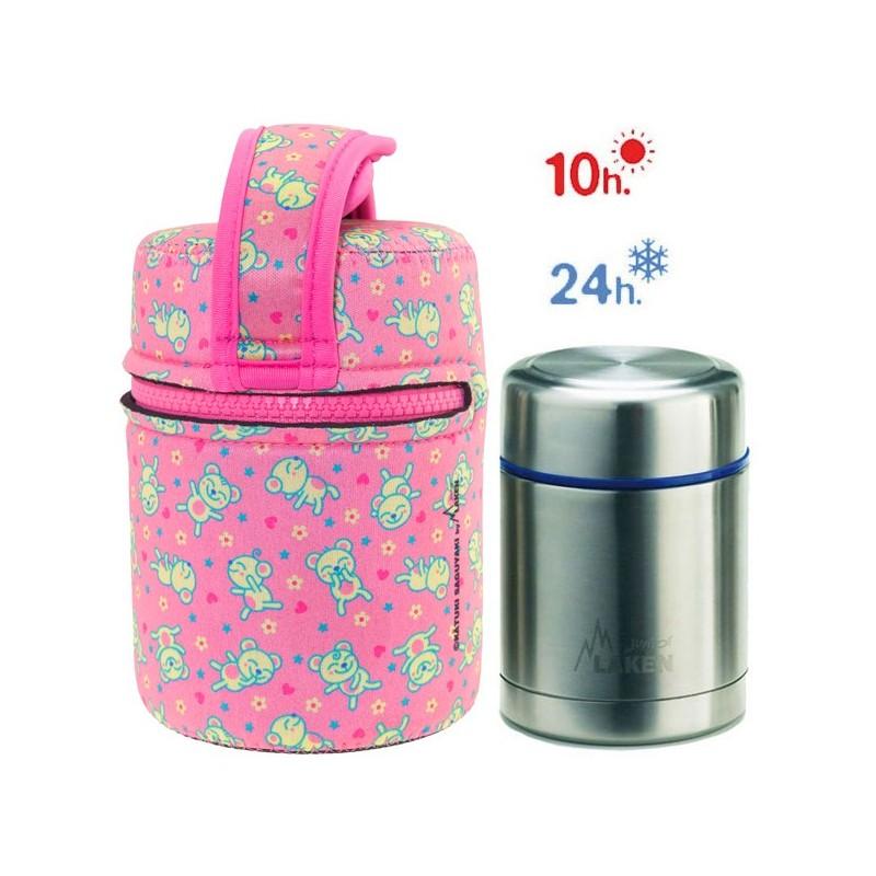 Lunch Box Isotherme inox et housse rose avec petites souris, 0,5L