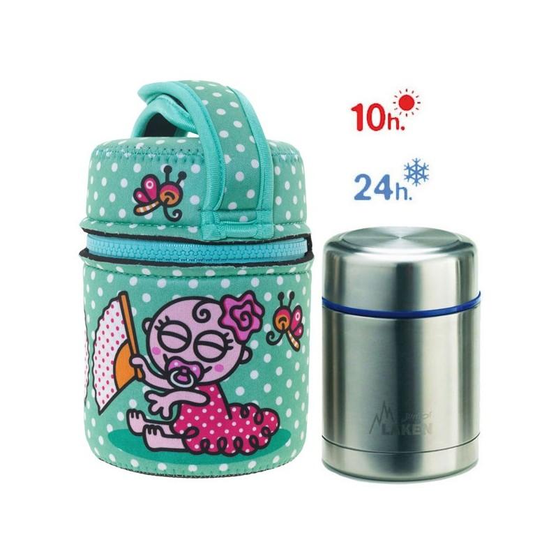 Lunch Box Isotherme inox et housse turquoise bébé flamenco, 0,5L