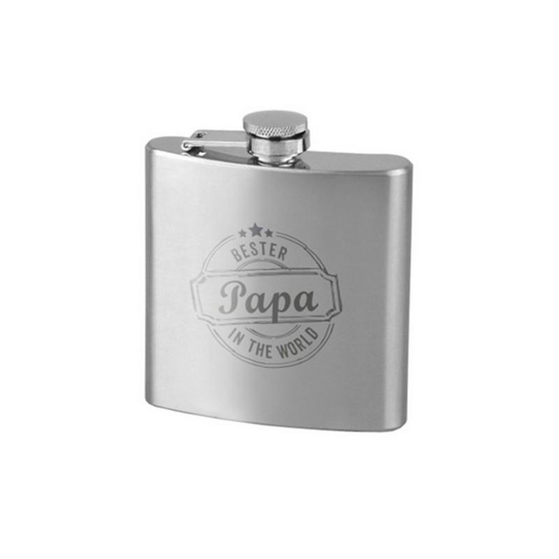"""Flasque inox brossé, gravé au laser """"Meilleur papa du monde"""" 18cl"""