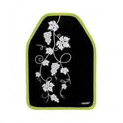 Manchon rafraîchissement Noir avec bords verts et dessin de vigne, 16x22.5cm