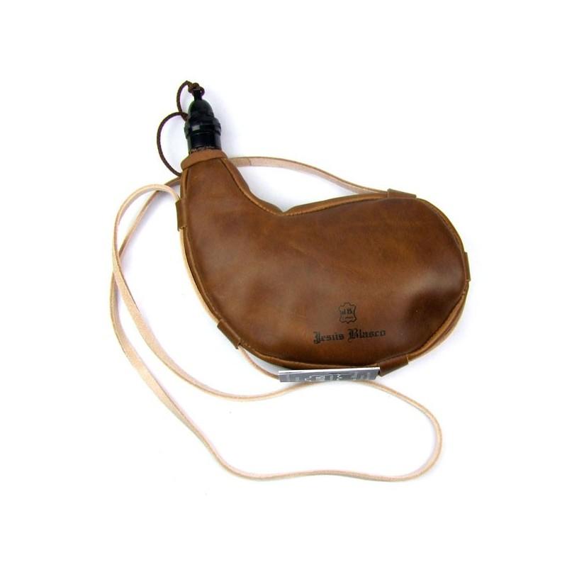 Gourde basque en cuir intérieur latex courbée 1 litre