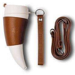 Mug Viking, lanière et repose mug en cuir pour votre café, 350ml