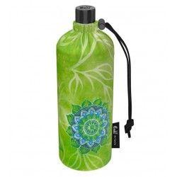 Grande gourde en verre isotherme Housse verte Esprit nature, 0.75 litre