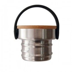 Petite gourde inox 0,35 l, bouchon inox et bambou, large goulot