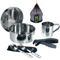 Kit de cuisine de camping en inox, 1 personne, 17cm