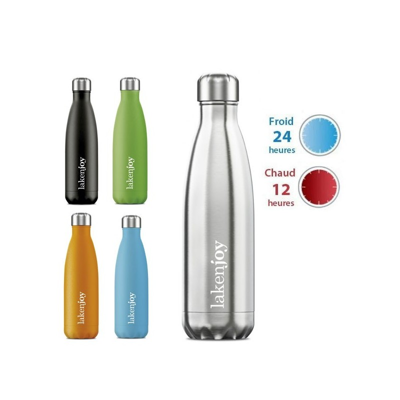 Gourde inox isotherme 500ml, forme bouteille