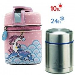 Lunch Box inox isotherme et housse protection licorne, 500ml