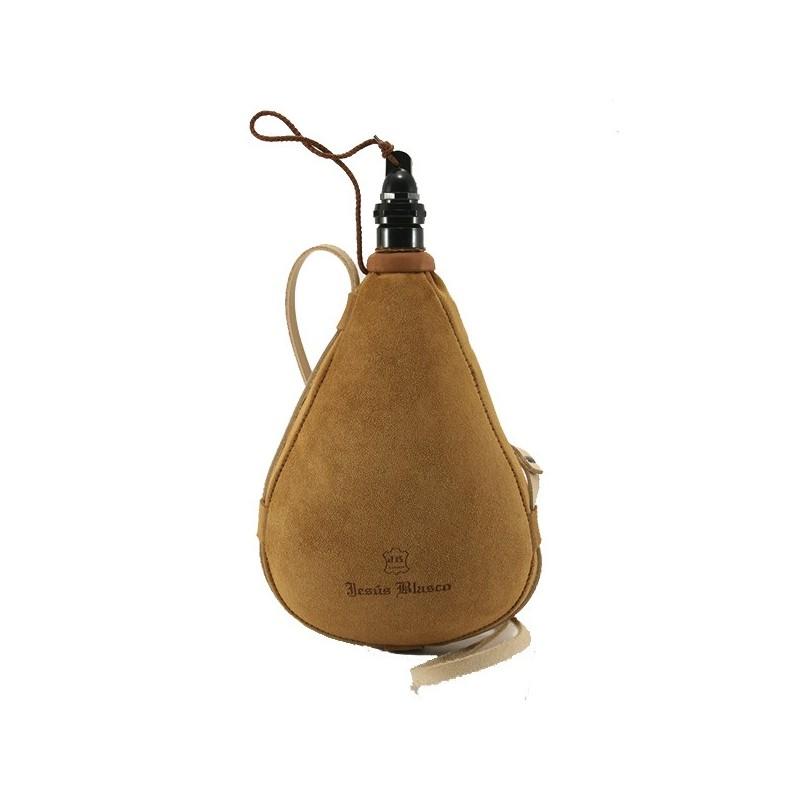 Gourde basque cuir doux velours latex droite 1 litre
