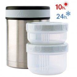 Lunch box thermique en inox et housse neoprene à pois 1 litre