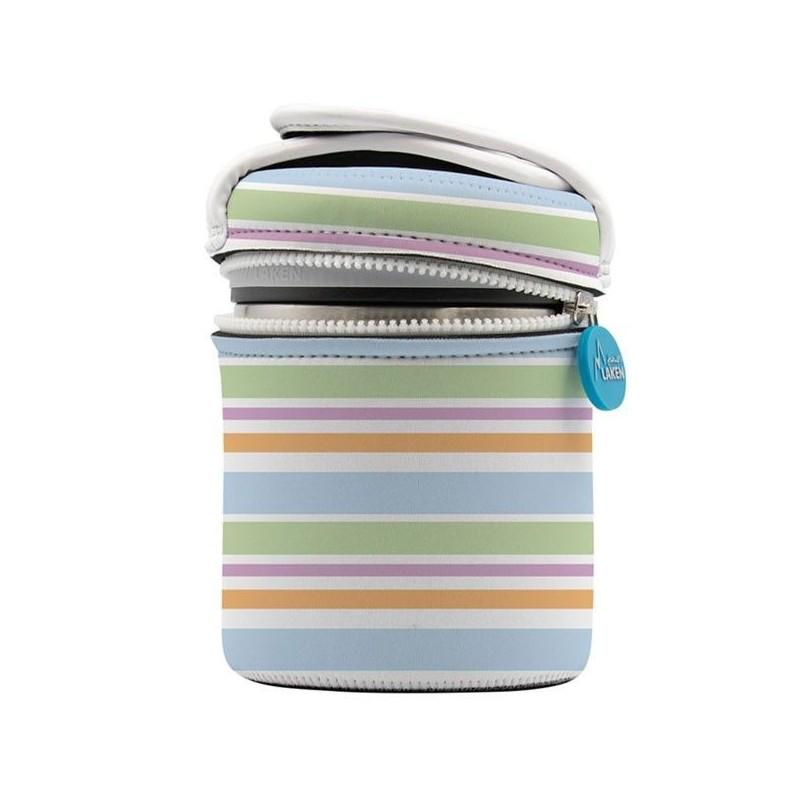 Lunch box inox isotherme et housse neoprene ligné 1 litre