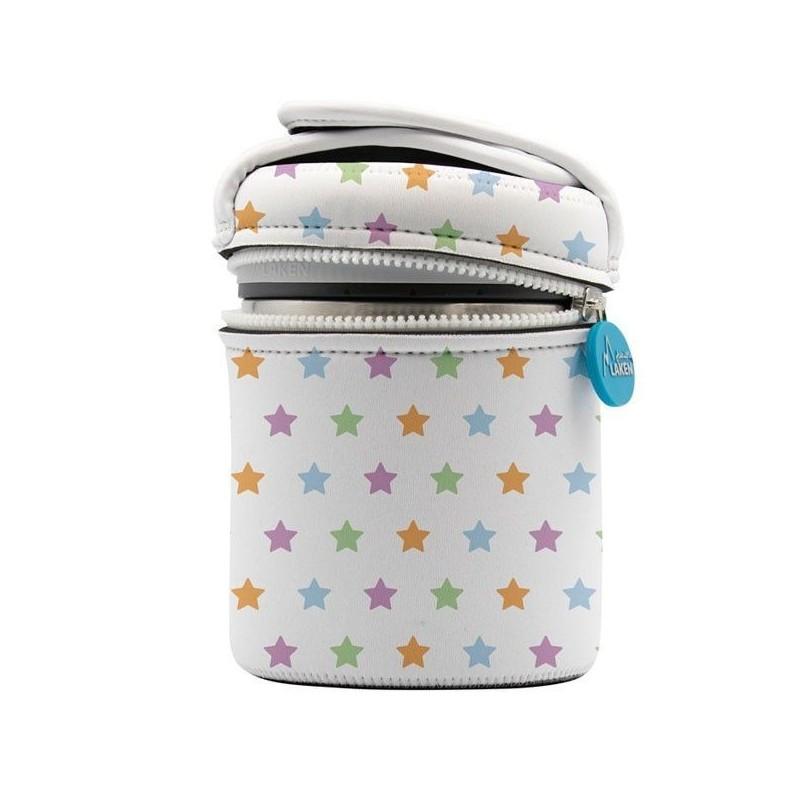 Lunch box inox isotherme, housse et anse étoiles 1 litre