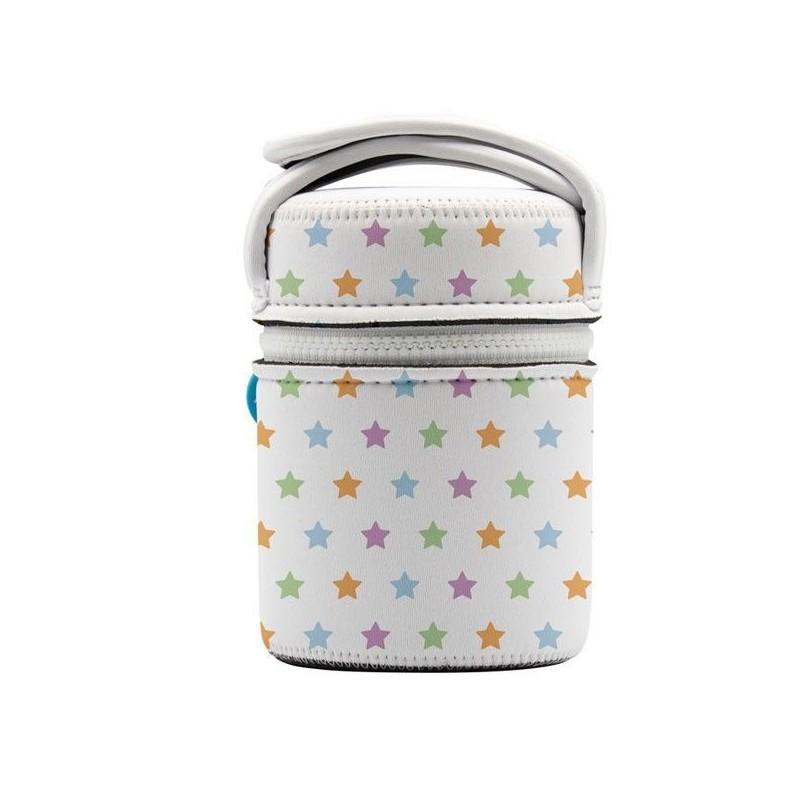 Lunch box 0,5 litre en inox et isotherme, housse étoiles