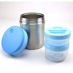 Lunch Box inox isotherme 1L, 2 compartiments housse bleue avec baigneur