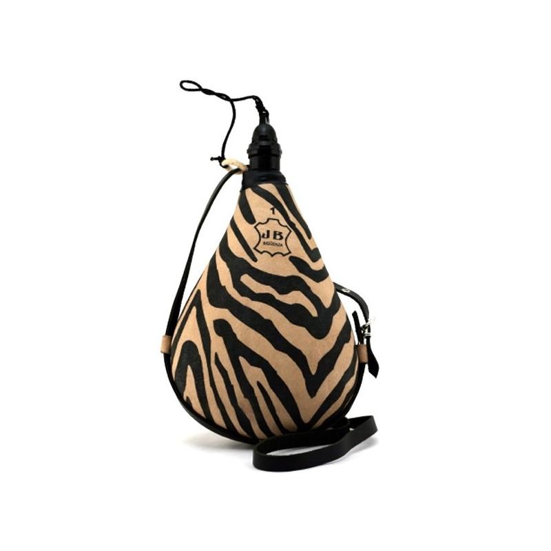 Gourde en peau chasseur Safari effet peau de Zèbre 1 litre
