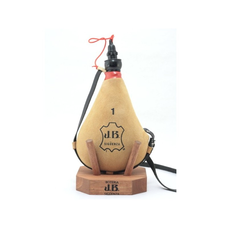 Gourde basque marron clair daim avec coupe 1.5 litres entonnoir