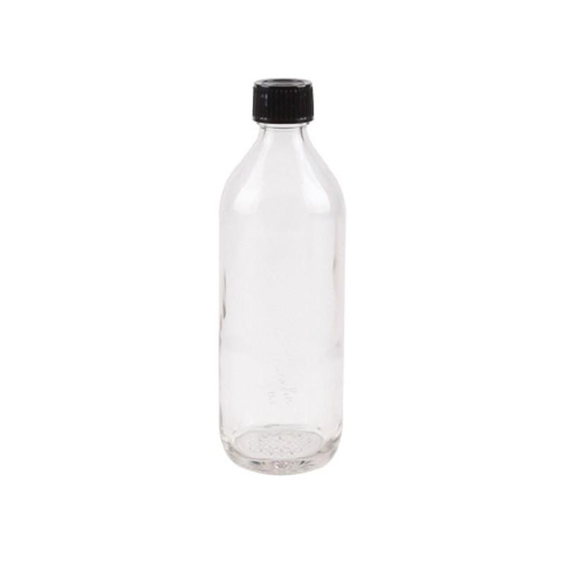 Bouteille en verre avec bouchon noir, 0.6 litre